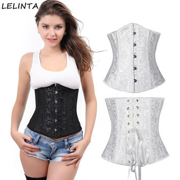 Hot Sale Black White Underbust Corset Sexy Women Body Shaper Lace Up Corselet Print Corsets Bustiers Gothic Wedding Lingerie