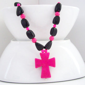 Pink Cross Necklace, Colorful Cross Necklace, Christian Necklace, Hot Pink and Black Jewelry, Religious Jewelry, Chunky Necklace