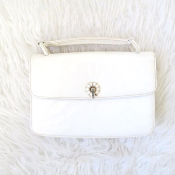Vintage 1960s Patent Leather Shell Structured Handbag Purse