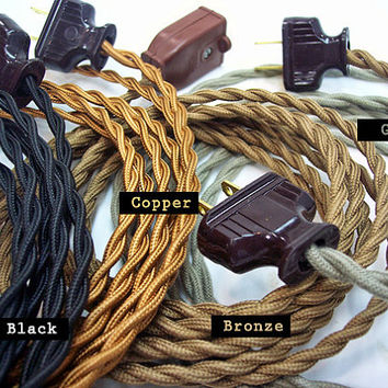 Cloth Extension Cord - Vintage Style - Cloth Covered Cord - Vintage - Antique - Steampunk - Electrical Cord - 10-foot