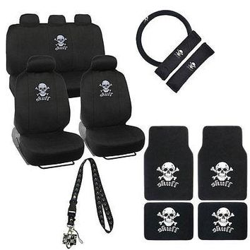 Licensed Official White Skull Cross Bone Car Front Back Seat Covers Floor Mats & Lanyard Keychain