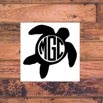 Turtle Monogram Decal | Cute Turtle Monogram Decal | Preppy Turtle Yeti Decal | Country Turtle Prepster Decal | Sassy Macbook Turtle | 249