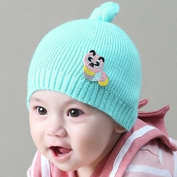 New Winter Warm Baby Knitted Cap Cartoon Animal Cute Caterpillar Pattern Knot Wool Hat Newborn Infant Boys Girls Beanie Caps