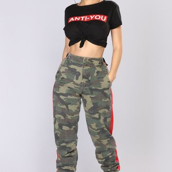 Count On Me Joggers - Camo/Red