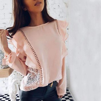 Summer Lady Lace Stitched Hollow Out Chiffon Blouse Elegant Tops O-Neck Long Sleeve Ruffles Causal Shirts