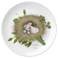 Baby Lovebirds Porcelain Plate