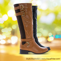 Madrid32 Equestrian Motorcycle Inspired Riding Boots Harness Elastic Stack Heel