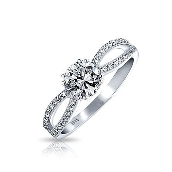 1 CT Solitaire CZ 925 Sterling Silver Engagement Ring Split Open Band