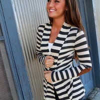 Striped Elbow Patch Cardi {Charcoal}