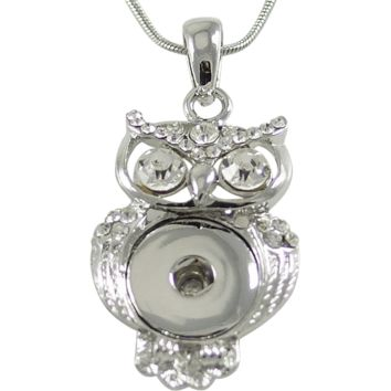 Chunk Snap Pendant Owl and Stainless Steel Necklace 46 cm, 18""