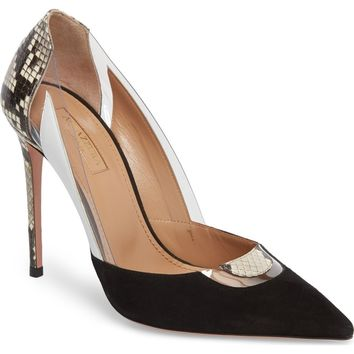 Aquazurra Fearless Genuine Snakeskin Pointy Toe Pump (Women) | Nordstrom