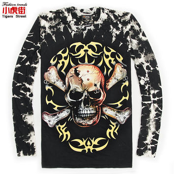 Male long-sleeve T-shirt hiphop Camouflage tie-dyeing skull t shirt