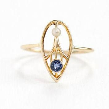 CREYUG7 Antique Art Deco 14k Yellow Gold Genuine Sapphire & Seed Pearl Ring- 1920s 1930 Tear D