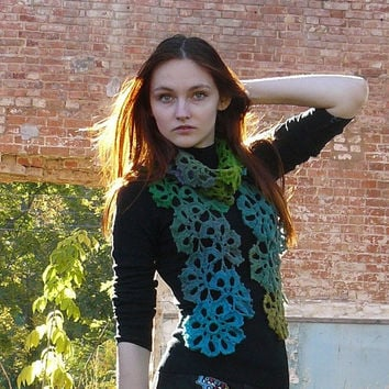 Autumn accessories Lariat scarf Green Turquoise crochet scarf Neck warmer Colorful Multocolor Gradient lace scarf Eco wool scarf Wool wrap
