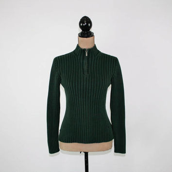 Forest Green Sweater Women Small Petite Ribbed Knit Pullover Half Zip Cotton Sweater Ralph Lauren Vintage Clothing Womens Clothing