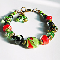 Chili Handmade Lampwork bracelet Spicy Red-Green-Black Boho bracelet Chef bracelet Glass beads bracelet Classic Handmade Gift for Her OOAK