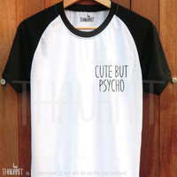 Cute But Psycho - tumblr shirt Funny Tee Shirt Tumblr Clothing Top Pocket Shirt baseball Tee Shirts Size - S M L XL 2XL 3XL