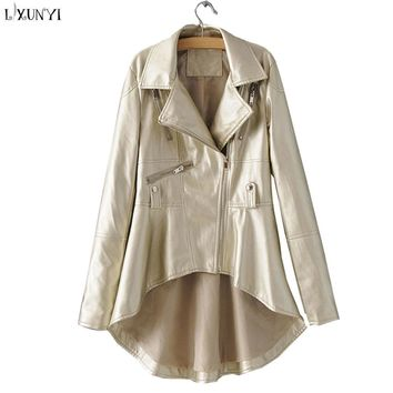 LXUNYI Faux Leather jackets Women 2018 Spring Autumn Asymmetric Cloak Loose Fashion Long Leather Coat Zipper Jacket Gold Silver