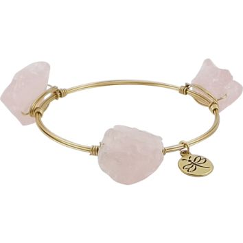 Crystal Wire Bangle Quartz Pink Crystal Stones