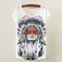 White Bat-Wing Sleeve Flowered T-Shirt