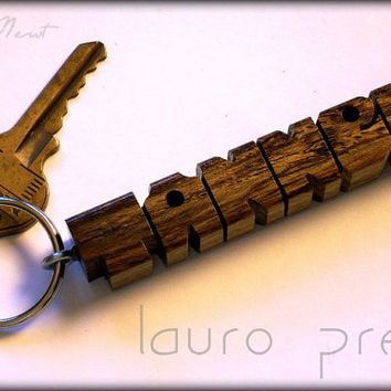 Wood Name Keychain - Lauro Preto Wood - Handmade to Order