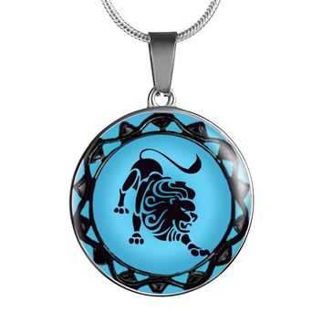 Leo Blue Zodiac Sign Pendant Necklace