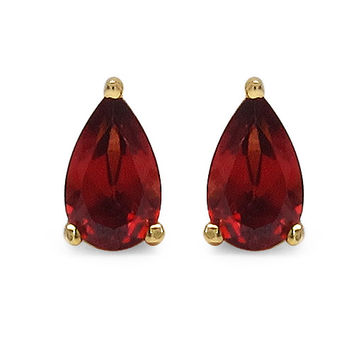 .50CT Pear Cut Genuine Garnet Stud Earrings