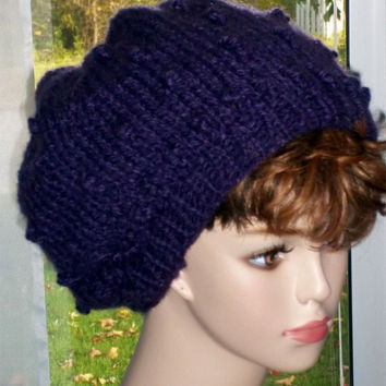 Pattern Slouch Hat Knit Bobble Stitch PDF