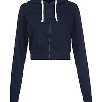 Navy Zip Up Crop Hoodie