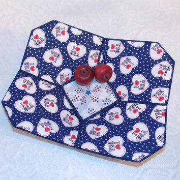 Patriotic Fabric Bowl Red White Blue July 4th Memorial Day