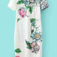 White Short Sleeve Floral Midi Dress