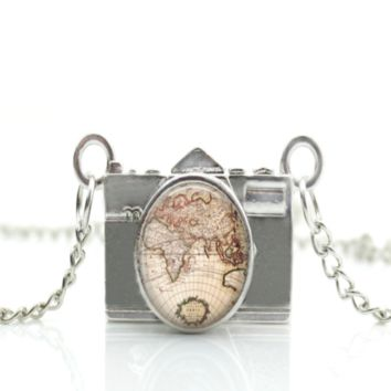 Camera Necklace World Map Pendant  Photographer Gift PFNECKLACEW