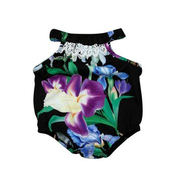 baby romper New arrival Ruffled Flower Baby Rompers baby toddler summer boutiques baby girls floral Halter ruffle neck romper
