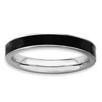 Sterling Silver Stackable Expressions Black Enameled 3.25mm Ring
