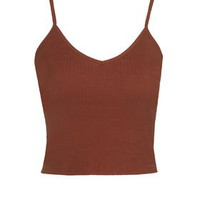Ribbed Cropped Cami - Rust
