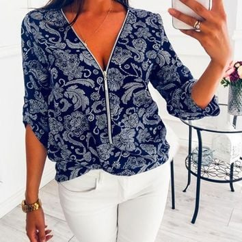 New Navy Blue Floral Print Zipper Deep V-neck Elbow Sleeve Casual Blouse