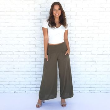 Chill Out Smock Waist Palazzo Capris in Olive