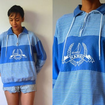 Vtg Hawaii Striped Blue White Drawstring Zip Neck Sweatshirt
