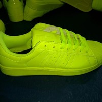 """""""Adidas"""" Superstar Shell toe Fluorescent Green Casual Sneakers"""