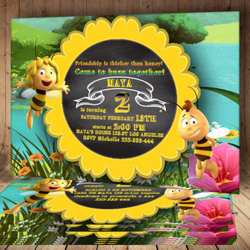 Maya the Bee Birthday Invitation card - Maya the Bee Printable Invitations, Birthday Party Personalized Invitation Cards, 3 Different Styles