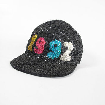 90s Sequin Baseball Cap Vintage Black Sequin Hat 1992 Party Hat Fly Girl Hip Hop Womens Bike Brim Hat Statement Hat Festival Sequined