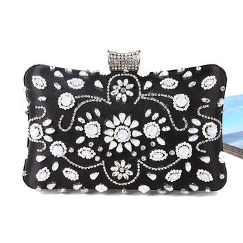 Vintage Fashion Women Day Clutches Bags Rhinestones Beading Small Purse Diamonds Chain Shoulder Evening Bags bolsos mujer