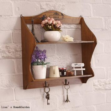 Double-tiered, solid pine, vintage wall shelf