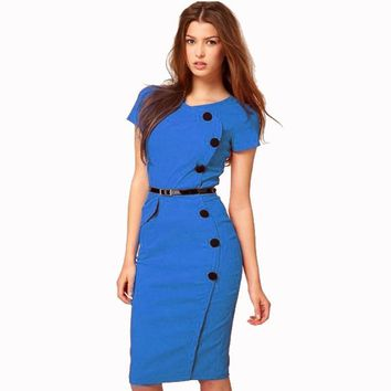 2017 Fashion Women Formal Pinup Bodycon button short sleeve slim fit pencil midi Summer Plus Size Dresses