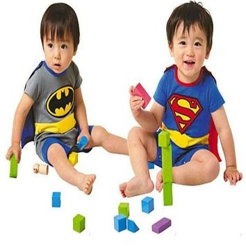 Batman Dark Knight gift Christmas Free Shipping 1 Set Short Sleeve Superman Batman Romper Baby Boy Girl Clothes with Dress Smock Infant Cloak Jumpsuit 6 Styles AT_71_6