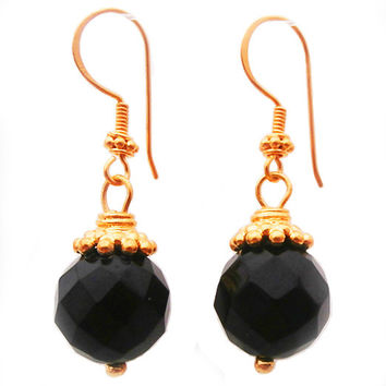 24K Gold Vermeil and Faceted Black Onyx Earrings