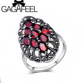 GAGAFEEL Authentic 100% 925 Sterling Silver Rings With Garnet Stone Luxury Jewelry Brand Wedding Engagement For Women Gift