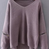 Purple Choker Zipper Detail Sweater