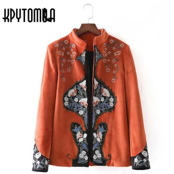 Vintage Ethnic Floral Embroidery Velvet Jacket Women Coat 2017 New Fashion Autumn Cardigan Patchwork Outwear Casual Casaco Femme