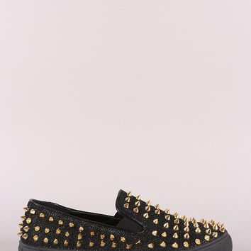 Liliana Spike Studs Metallic Slip-On Flats Sneaker